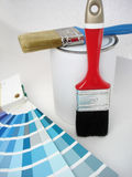 Paint, brush, color samples. Interior designing Stock Images