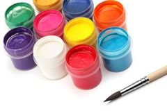 Paint brush and colors. On white Stock Image