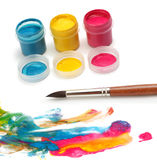Paint brush and colors. Paint brush, paint and colors Royalty Free Stock Photo