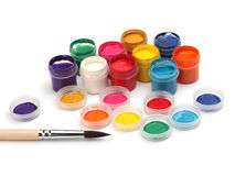 Paint brush and colors. Artistic paint brush and colors Royalty Free Stock Photos
