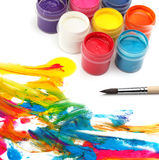Paint brush and colors Royalty Free Stock Images