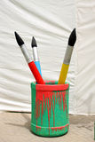 Paint brush in a container Stock Photo