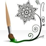 Paint brush drawing doodle flower. Green paint brush drawing a black doodle flower Royalty Free Illustration