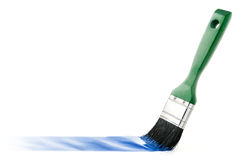 Paint brush drawing line. On white background Stock Photos