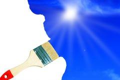 Paint brush drawing sky Stock Photos