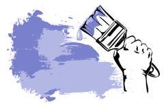 Paint brush Hand  cartoon. Royalty Free Stock Image