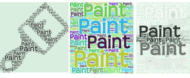 Paint brush icon made of text and text block Royalty Free Stock Image