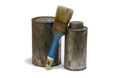 Paint and brush. On isolated white background Stock Photography