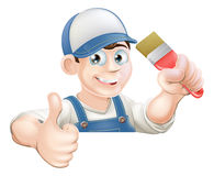 Paint brush man over sign thumbs up. A painter or decorator holding a paintbrush and giving a thumbs up while peeking over a sign or banner Royalty Free Stock Photos