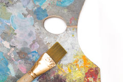 Paint brush and old pallet Royalty Free Stock Image