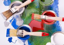 Paint brush and paint Royalty Free Stock Photos