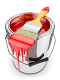 Paint brush on paint can Stock Images