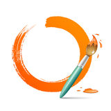 Paint brush. paint circle orange background Royalty Free Stock Photography