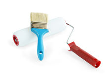 Paint brush and paint roller Royalty Free Stock Photography