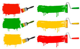 Paint brush and paint roller and paint banners. Stock Image