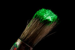Paint brush painting with green color Stock Images