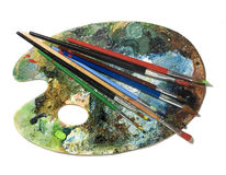 Paint brush with palette Stock Photos