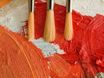 Paint brush and palette Stock Photos