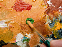 Paint brush and palette Stock Photography