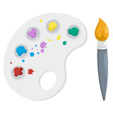 Paint brush with palette Royalty Free Stock Images
