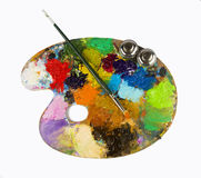 Paint brush and palette Royalty Free Stock Photo