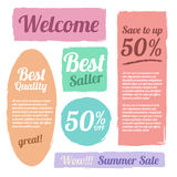 Paint brush pastel style banner label  vector set design Stock Images