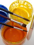 Paint brush and pots Stock Image