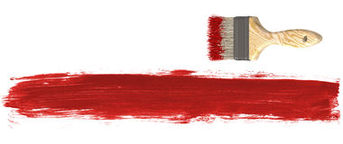 Paint Brush and Red Paint. Design elements isolated on white stock illustration