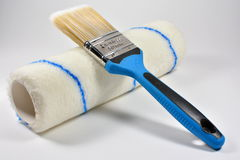 Paint brush and roller Royalty Free Stock Images