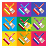 Paint brush and roller vector illustration