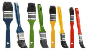 Paint brush set, multicolor paintbrush isolated over white backg Stock Image
