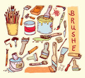 Paint brush set, vector illustration Stock Image