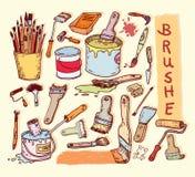 Paint brush set, vector illustration Stock Image