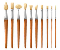 Paint brush set on a white background. Vector collection for artist Stock Image