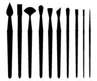 Paint brush set on a white background. Vector collection for artist Royalty Free Stock Image