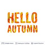 Autumn fall bright orange leaves text. Paint brush silhouette filled with leaves pattern Stock Image