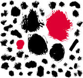 Paint brush spots. 50 ink and brush spots. Vector illustration Royalty Free Stock Photos