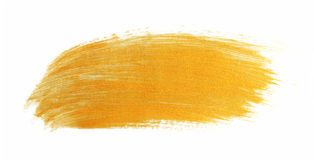 Paint brush stroke texture golden acrylic Stock Images