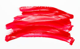 Paint brush stroke texture red watercolor. Isolated on a white background royalty free stock photos