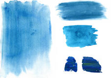 Paint Brush Strokes. Hand painted watercolour and acrylic paint brush strokes on paper royalty free illustration