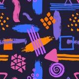 Paint brush strokes marker pen textures shapes vibrant colors seamless pattern stock illustration