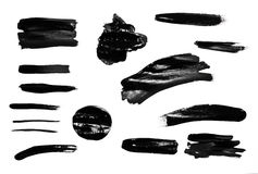 Paint brush strokes texture black watercolor Royalty Free Stock Image