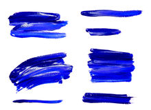 Paint brush strokes texture blue watercolor Stock Images