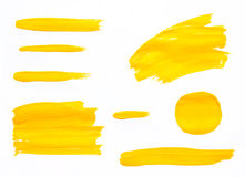 Paint brush strokes texture yellow watercolor Stock Photo