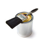 Paint brush and tin can Stock Images