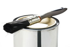 Paint brush and tin can Stock Image