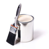 Paint brush and tin can Royalty Free Stock Image