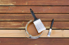 Paint Brush on top of open can of stain Royalty Free Stock Image
