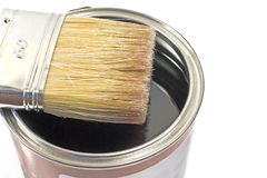 Paint brush and varnish can Royalty Free Stock Photography