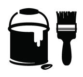 Paint and brush. Vector black paint and paint brush on white background Royalty Free Stock Photography